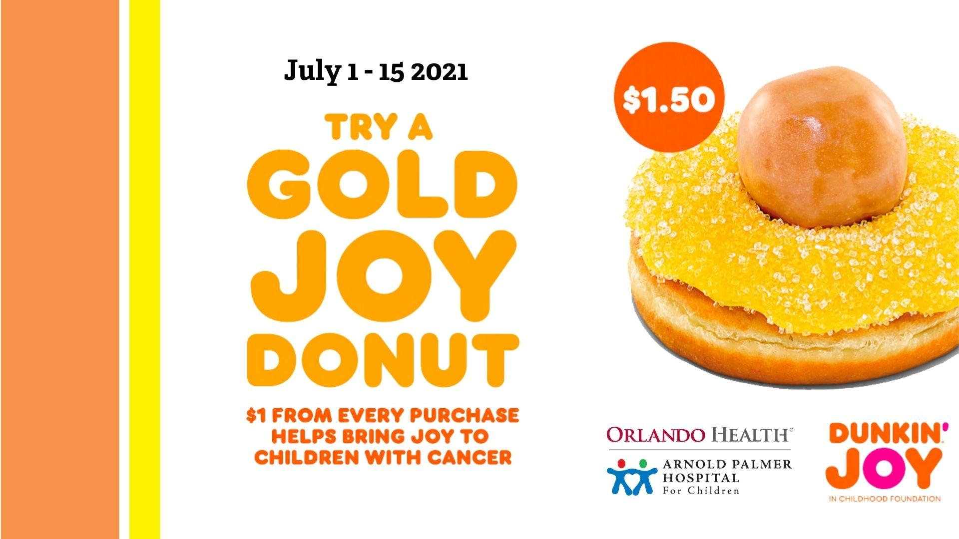 Dunkin' Shines Gold for Childhood Cancer: July 1- 15